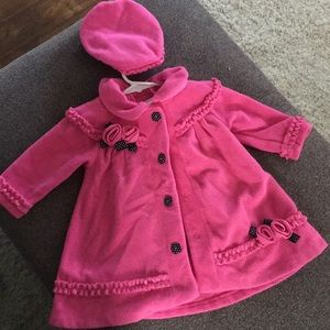Bonnie Baby Pink Button Jacket with Hat